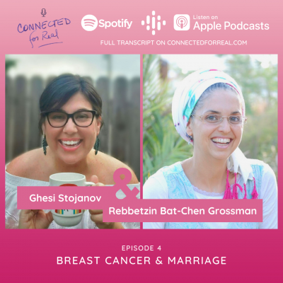 Connected for Real Episode 4 is Breast Cancer and Marriage with Ghesi Stojanov. The podcast is available on Spotify, Google Podcasts, and Apple Podcasts